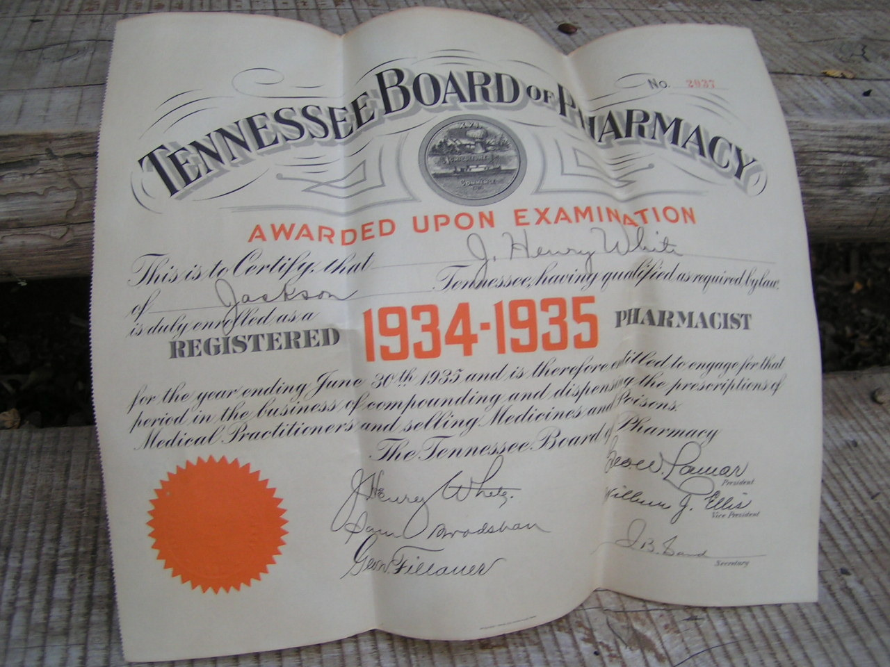 1934 1935 tennessee board of pharmacy certificate diploma