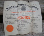 1934 1935 tennessee board of pharmacy certificate diploma thumb155 crop