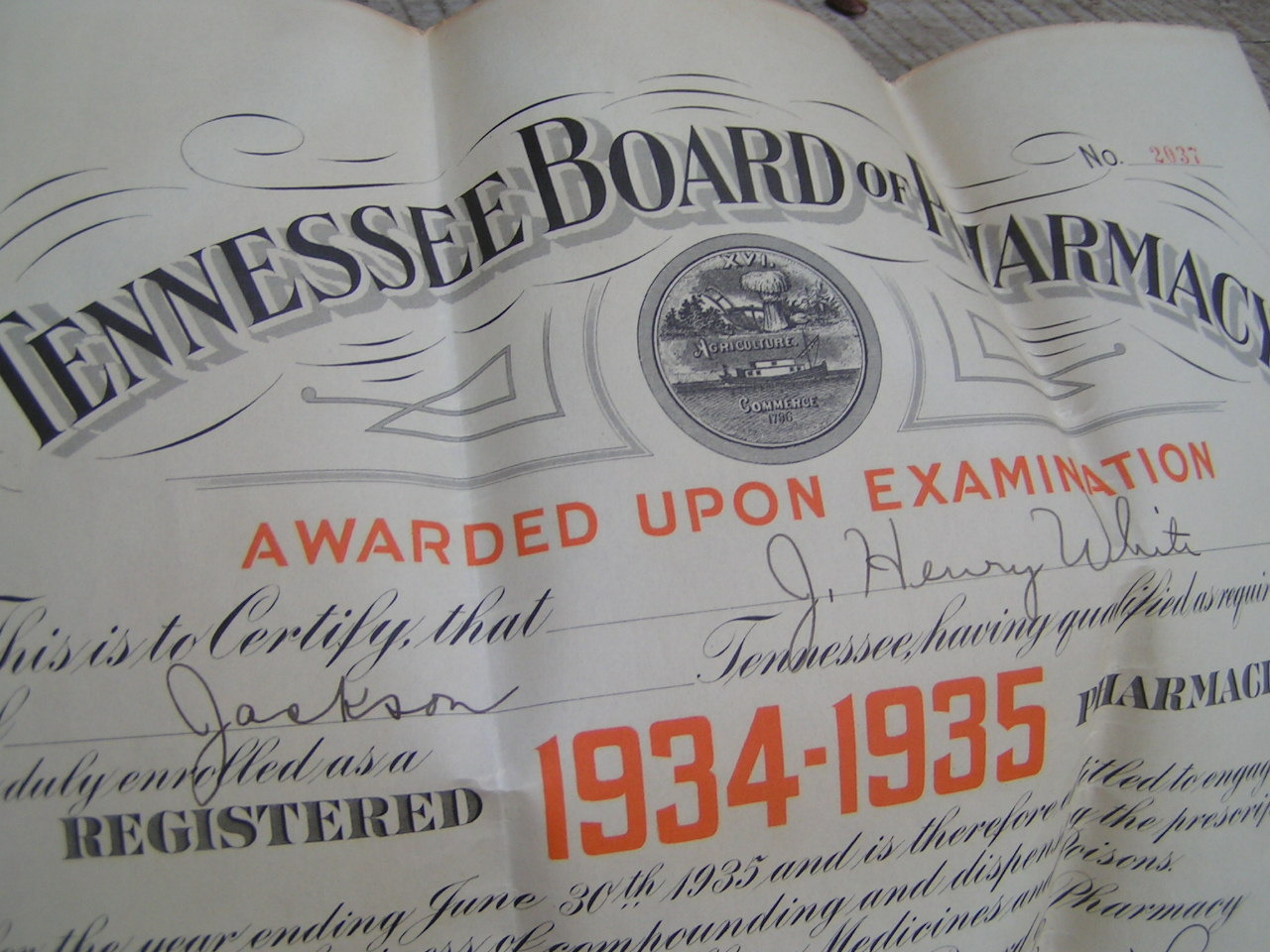 OLD 1934 35 Tennessee Pharmacist Board Certificate Diploma Seal Ephemera bz