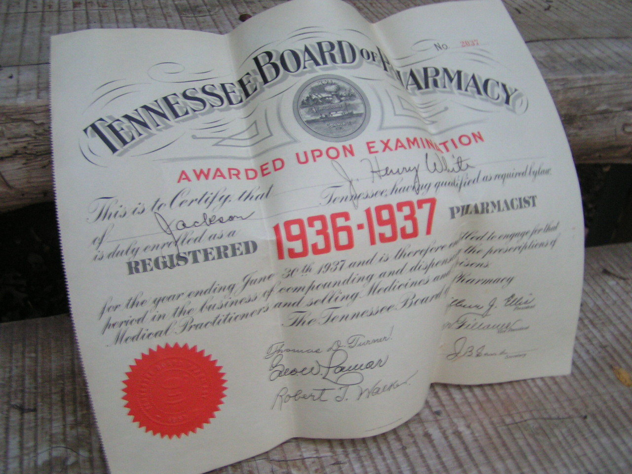 1936 1937 tennessee board of pharmacy diploma certificate