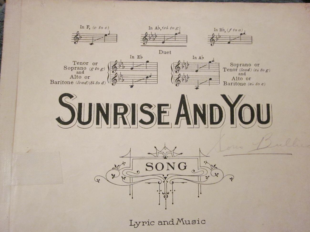 Sheet Music Sunrise and You by Arthur A. Penn 1918