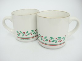 Vintage Arbys 1987 Christmas Collection Mugs Set of 2 Holly Band Gold Rim - $15.83