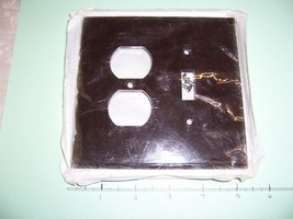 Oversize 2 Gang Wall Plate 1 Toggle Switch 1 Duplex Brown Plastic 85105 Lot of 3 - $12.73
