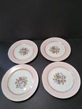 Vtg Homer  Laughlin Eggshell Georgian Pink Floral 4 Bread & Butter Plates USA - $21.77