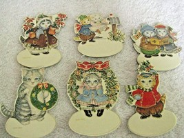 6 Kitty Cucumber Hang Tags Ornaments Space for Personalizing Shackman Xm... - $6.88
