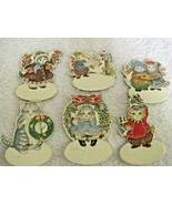 6 Kitty Cucumber Hang Tags Ornaments Space for Personalizing Shackman Xmas NOS - $9.31 CAD