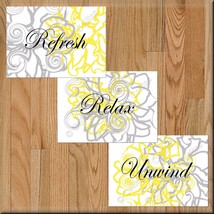 Gray Yellow Wall Art Bathroom Prints Flowers Floral Decor Relax Refresh Unwind - $10.89