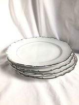 Bristol Nobility Japan Fine China Platinum Silver Trim-Dinner Plates 4pc... - $24.28