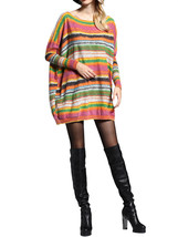 Women Loose O-Neck Long-Sleeve Pullover Printing Striped Knitted Mid Lon... - $48.99