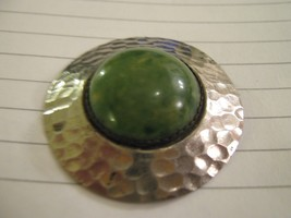 "Green Pin Back Pin , Antique , Vintage , 2"" Diameter , Dome Setting - $14.91"
