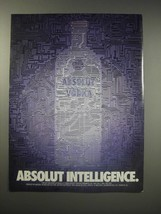 1990 Absolut Vodka Ad - Absolut Intelligence - $14.99