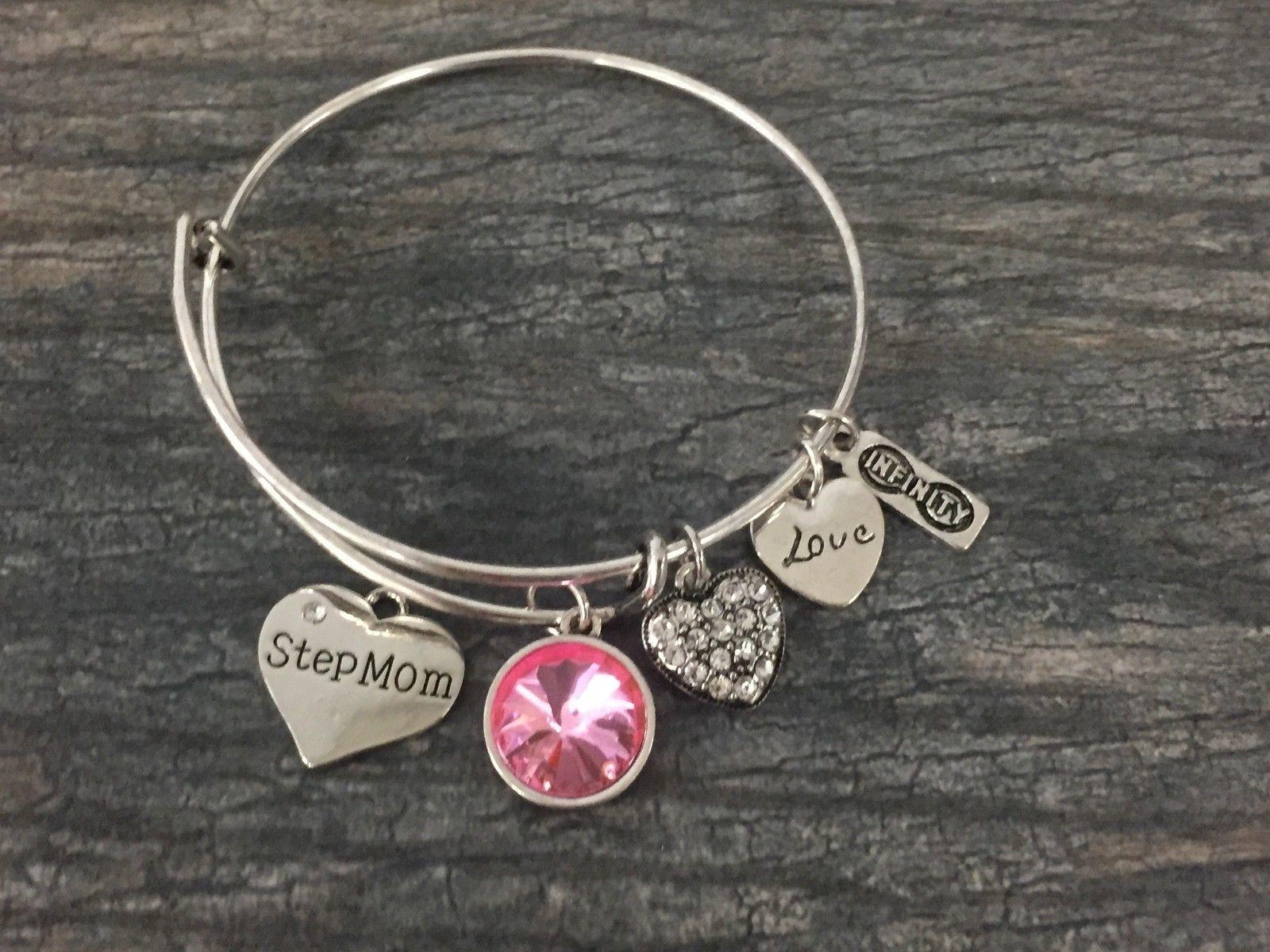 Personalized Grandma Birthstone Charm Bangle Bracelet, Mothers Day Jewelry Gift - $15.00