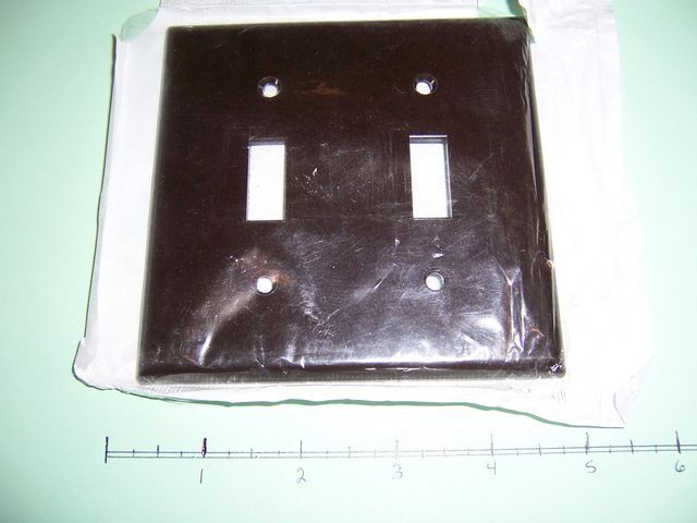 Primary image for  2 Gang Wall Plate 2 Toggle Switch Brown Plastic 85009 Lot of 3