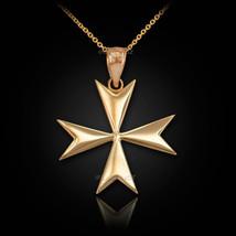 14K Polished Gold Maltese Cross Pendant Necklace - €112,69 EUR+