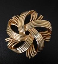 Vintage Signed Lisner Goldtone Ribbon Brooch Pin - $9.89