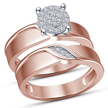 Unique Ring Set 925 Pure Sterling Silver Rose Gold Finish Womens Wedding Ringset - $94.99