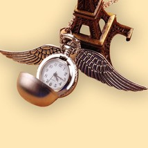 Harri Potter Golden Wings Snitch Toy Watch Cosplay Quartz Pocket Necklace - $13.83