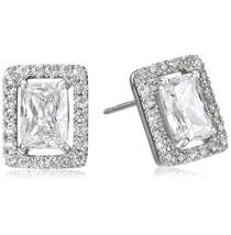 CZ Kenneth Jay Lane Rhodium Framed Emerald CZ Stud Earrings NWT  - $44.06