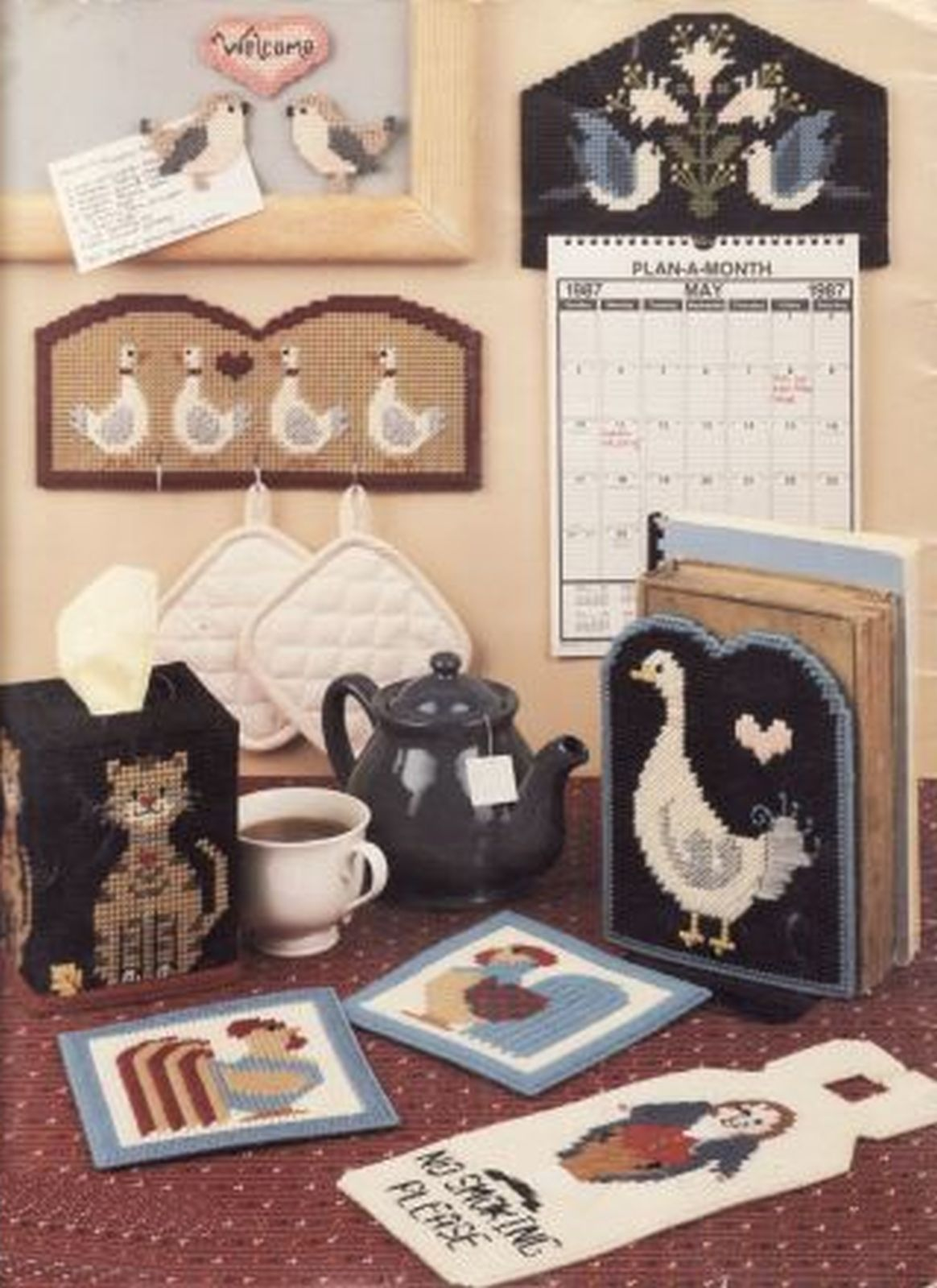 Primary image for 13 Plastic Canvas Country Tissue Cover Wreath Napkin Calendar Goose Cat Pattern