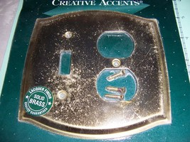 Creative Accents 2 Gang Polished Brass Wall Plate 1 Toggle 1 Duplex 1206PB - $6.61