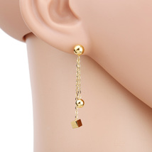 UE- Contemporary Gold Tone Designer Post Earrings With Dangling Ball & Cube - $14.99