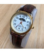 Vintage Japan Movt Lady Gold Tone Moon Phase Analog Quartz Watch Hour~New Batter