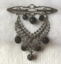 Vintage 1960's Filigree Brooch/Pin with Black Glass Beads - $10.00