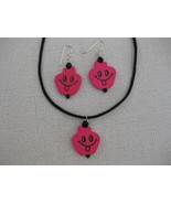 Wood Happy Face  Pendant  Pink  Earrings Handmade - $12.99
