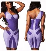 Purple One Shoulder Bandage Dress XXS NWOT - $37.08