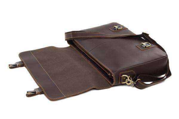 Sale, Vintage Leather Messenger Bag, Men's Leather Briefcase image 4