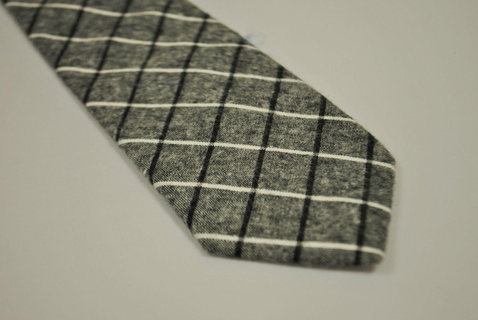Frederick Thomas grau/grau schwarz & weiß kariert 100% Baumwolle ft2154