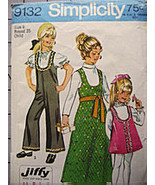 Simplicity 9132 Vintage1970s Pattern Girls Size 6 Bell Bottom Jumpsuit  - $9.95