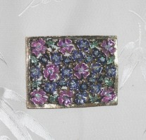 Lavender and Blue Floral Rectangular Brooch Pin