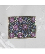 Lavender and Blue Floral Rectangular Brooch Pin - $5.95