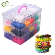 Rainbow color rubber band bracelet gift box Small weaving machines Knitt... - $29.76
