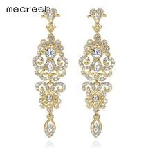 Mecresh Silver Color Crystal Wedding Drop Earrings for Women Korean Fash... - $18.93