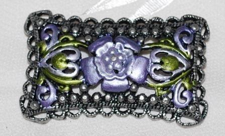 Beautiful Green & Lavender Rectangular scalloped Edge Brooch