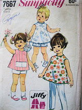 Simplicity 7667 Vintage 60s Pattern Girls 3 Over Blouse Shorts Pants Used Simplicity New Look