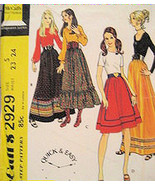 McCalls 2929 Vintage 70s Womans Hippie Peasant Skirt Pattern Costume USED - $9.95