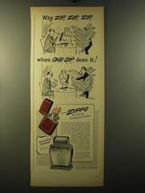 1950 Zippo Cigarette Lighter Ad - cartoon by Sam Cobean - Why Zip, Zip, Zip - $14.99