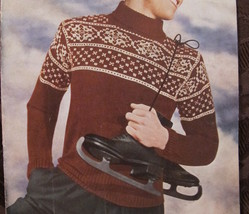 "Vintage Sirdar Knitting Patterns MENS Norwegian Pullover Sweater 36"" Chest - $4.95"