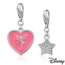 DISNEY COUTURE TINKERBELL PINK ENAMEL HEART & CRYSTAL STAR 2 BRACELET CH... - $34.99
