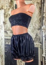 Black sliPpy stretchy satin effect sissy CD bloomers knickers panties M/L R14676 - $15.75