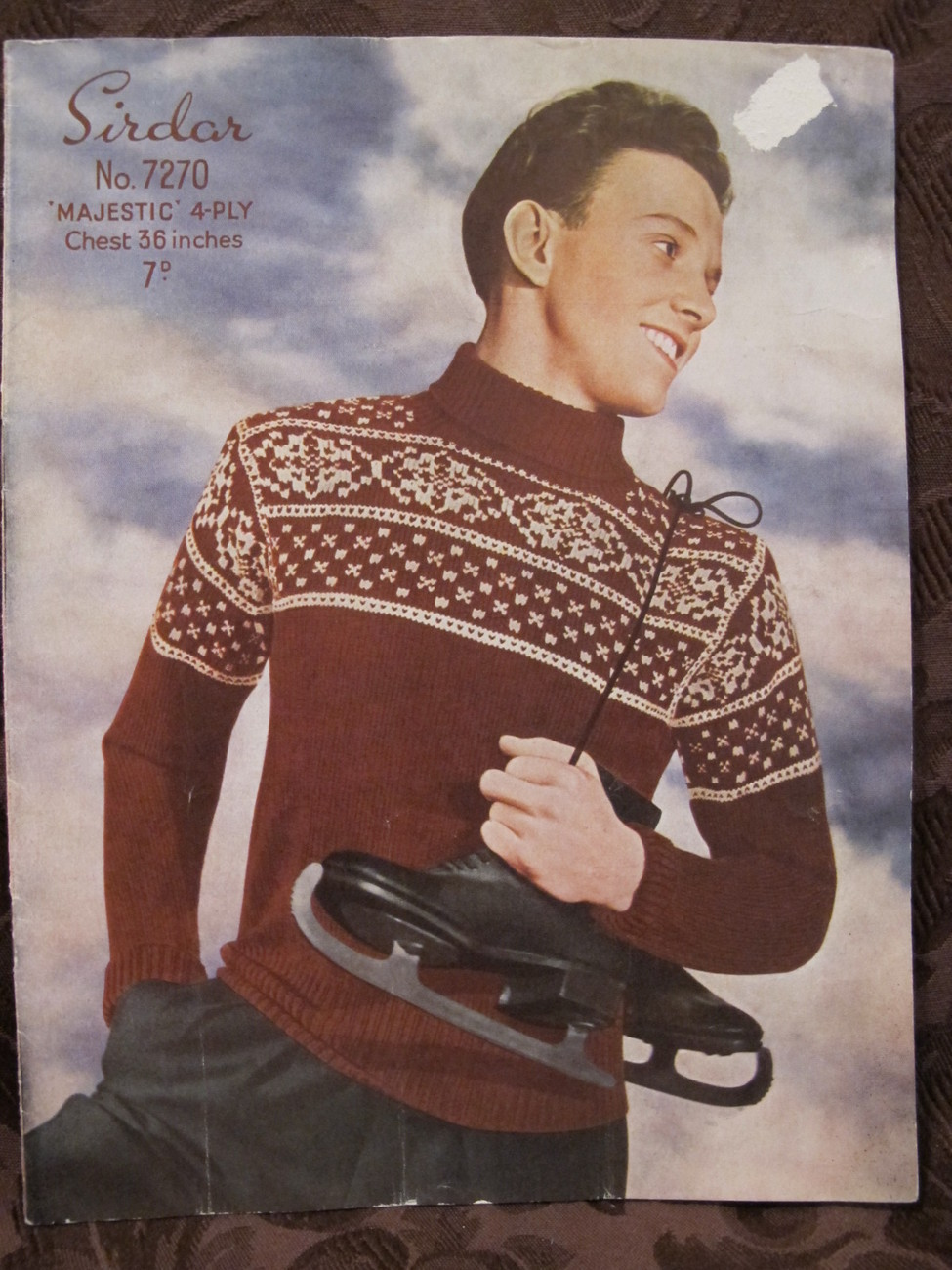 "Vintage Sirdar Knitting Patterns MENS Norwegian Pullover Sweater 36"" Chest"