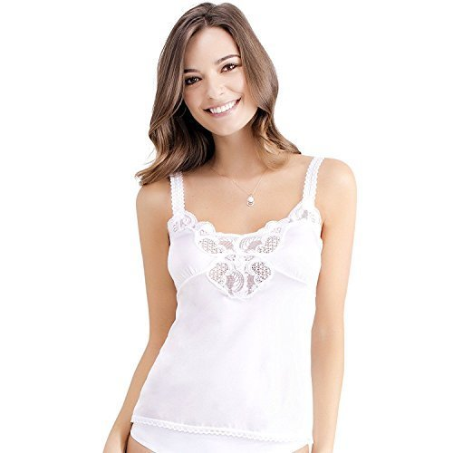 Ilusion Women's Nylon Lace Inset Camisole Slip Top with Lace Trim 2032 (34, Whit