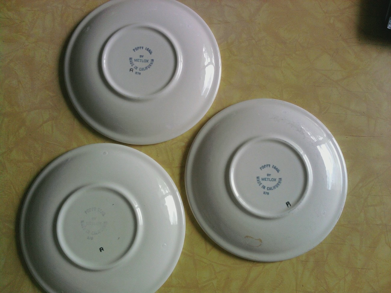 "(3) Metlox POPPYTRAIL ""Wild Poppy"" 6 in. saucers; 1972"