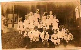 Old Vintage Antique Photograph Huge Group of Children All Wearing White - $6.93