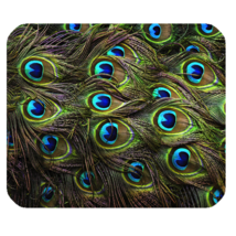 Mouse Pad Peacock Feather Beautiful Green Design Animal Editions Video Game - $6.00