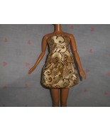 Gold Satin and Glitterd Party Dress 2 PC Fits Barbie and Most Fashion Dolls - $5.95