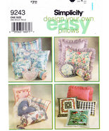 SIMPLICITY 9243 SEWING PATTERN DESIGN YOUR OWN PILLOWS  - $3.50